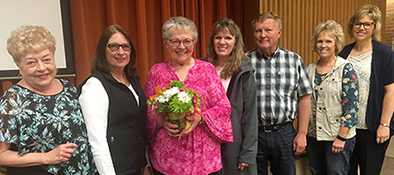 Spillum, Goldammer, Judy Tschetter, Auxiliary Volunteer of the Year, her daughters Lori Messegee, Lisa Meyer and Kristi Glanzer pose for a photo at the annual HRMC Auxiliary Recognition Luncheon on May 20, 2019.  Also pictured is Randy Hoscheid.